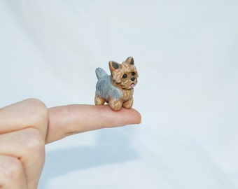 OOAK Hand Made Sculpted Tiny Miniature Critter by Amber Rose Creations. Yorkshire Terrier Puppy Dog Or custom wild animal or pet