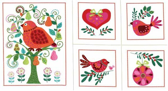 NORDIC HOLIDAY Partridge's Pear Tree Multi  by  Michael Miller Fabrics Christmas Panel, SALE