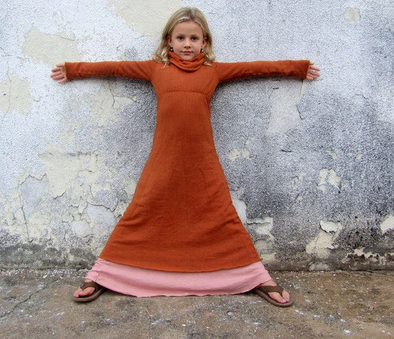 Organic Kids - Girls - Long Let It Snow Dress (hemp/organic cotton fleece) organic kids clothing