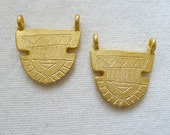 2 Semi Circle Tribal Charms Gold Plated