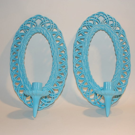 Blue wall sconces vintage for candles