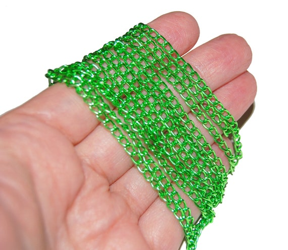 Light Green Anodized Aluminum Curb Chain 1.8mm link 6 foot pre-cut piece
