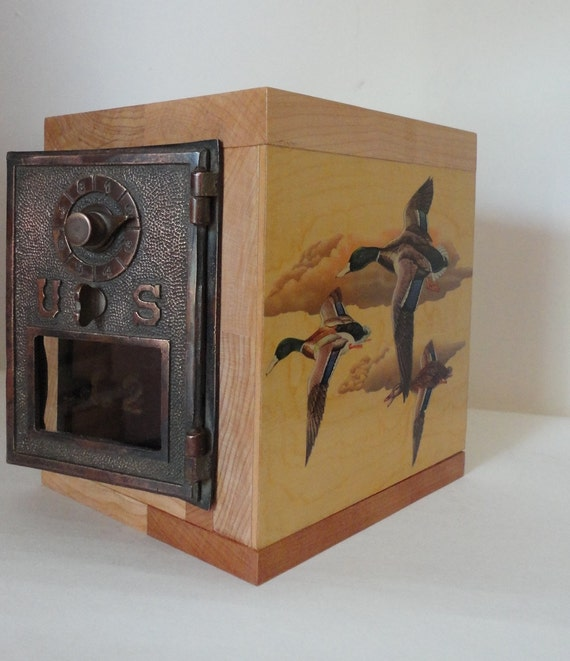 Ducks in Flight Wooden Safe with Vintage Brass Post Office Door Combination Copper Lock Box Bank Manly Man groomsman Gift idea Wedding Party