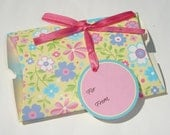 happy flower print pillow box with pink ribbon and gift tag set of 2