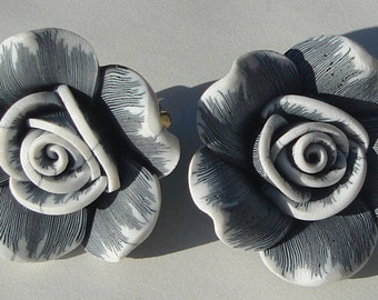 medium size grey and white polymer clay rose CLIP ON earrings