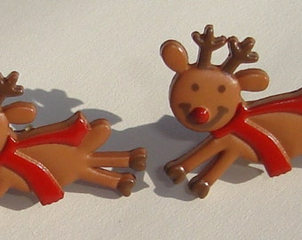 flying reindeer pierced post hand made earrings Merry Christmas