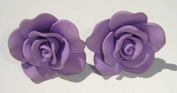 large lavender polymer clay rose clip on earrings
