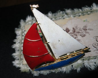 1970's Sail Boat Brooch