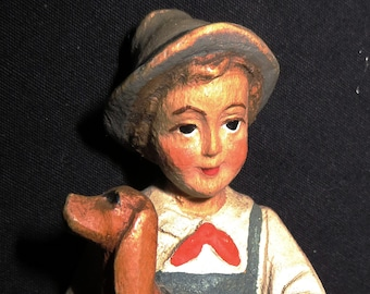 Italian Carved Wood Boy with Dog