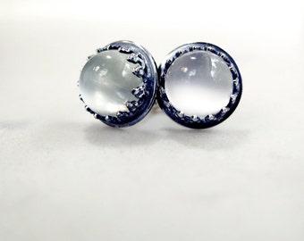 Moonstone earrings, Sterling Silver, gemstone studs, Birthstone jewelry