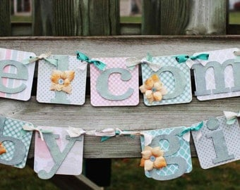 Baby Girl Shower Decoration - Welcome Baby Banner