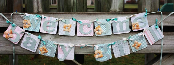 Baby girl shower decoration welcome baby banner by for Baby welcome party decoration ideas