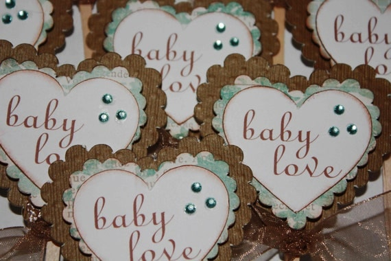 Baby shower cupcake toppers Heart cupcake picks