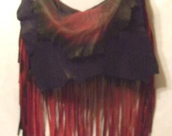 "Artisan Fringe Leather Designer Handbag ""RED HAT LADIES"" Hobo Bag Red and Purple Purse Holidays Gift Idea Handmade by Debbie Leather"