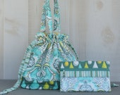 Sock Knitting Bag Frog Print in Aqua Grey and Yellow with Zippered Accessory Bag