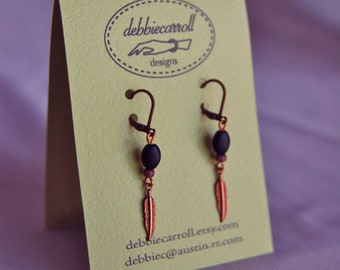 Small Feather Earrings with Black Glass Ovals part of Westwood Warrior School Spirit Jewelry Collection