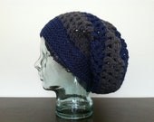 XL Snood in Grey & Cobalt, Bold Stripes