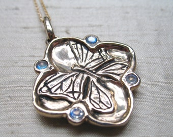 Butterfly-Cherry Blossom Pendant in Bronze with Rainbow Moonstones