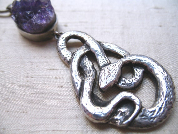 SALE-Amethyst Crystal and Sterling Snake Pendant