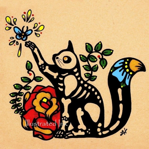 Day of the Dead CAT Dia de los Muertos Art Print 5 x 7 - Choose your own words - Shelter Donation