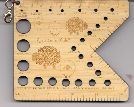 Sheep Engraved Crafters Rule Bamboo Needle and Hook Gauge with 2 Inch Stitch Gauge