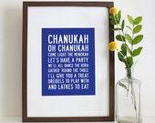 Chanukah Oh Chanukah and Family Chanukah Rules Printable Subway Art 8x10