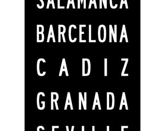 Spain Subway Art Typographic Vintage Bus Roll Poster Print 11.75x36