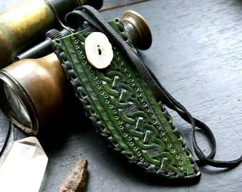 Leather Knife Sheath-Celtic Knife Sheath-Tooled Knife Sheath- Norse Leather Knife Sheath-Leather Sheaths-Knife Sheath-Leather Knife Sheath