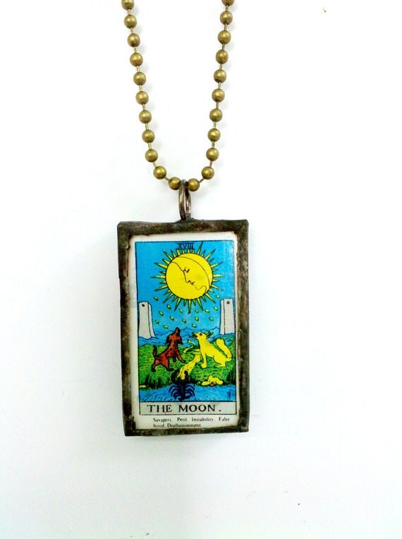 Miniature Tarot Card Necklace, Soldered Pendant, Fortune Telling Jewelry, Rider Waite Necklace - The Moon