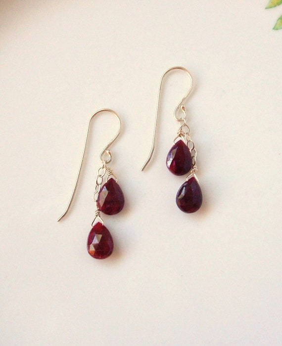 deep red ruby and silver dangle earrings, July birthstone, Valentine- MOVING SALE! 10% off any ready-made items; enter coupon code TAKE10OFF