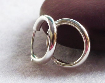 Thick silver hoop earrings, 925 sterling silver, Cartilage earrings, Piecing Jewelry, Nose Ring, Helix Tragus Septum Eyebrow, 6mm to 53mm