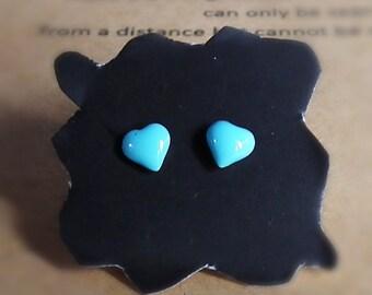 Sweet Blue Heart Earrings, Heart Stud Earring, Cartilage stud, Piercing earrings, Kids earrings, Teeny earrings, Girl gift jewelry