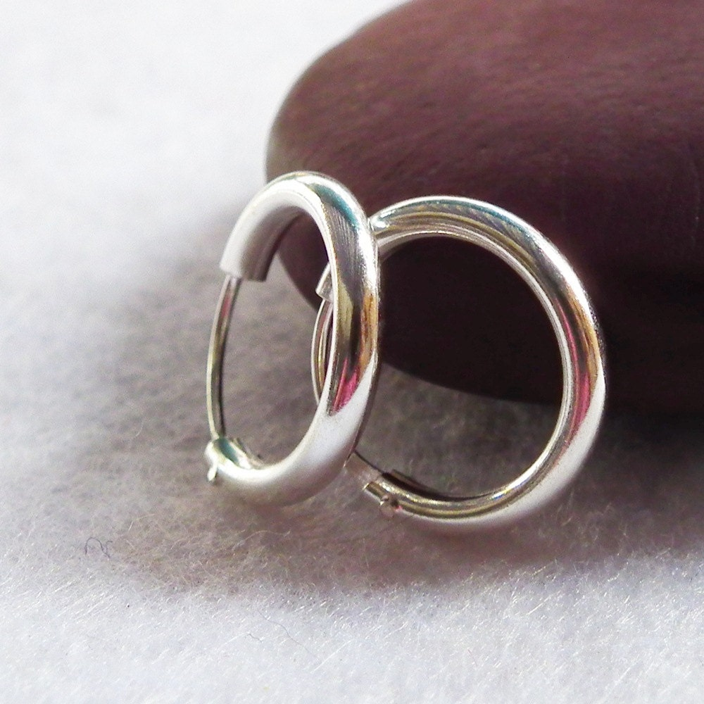 Thick silver hoop earrings 925 sterling silver Cartilage