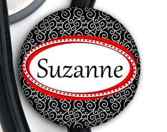 Stethoscope ID Tag - Personalized Name - Black and Red Swirl