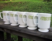 Vintage Coffee Mugs - White and Avocado Plastic