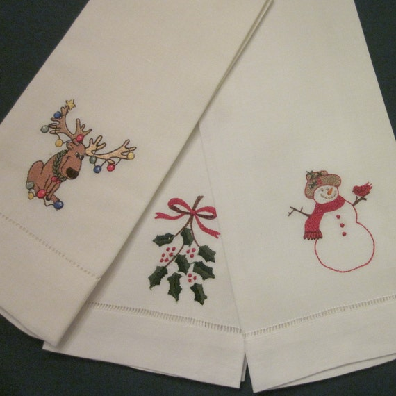 Christmas Kitchen Towels At Walmart: Christmas/ Holiday Tea Towels Three Embroidered By
