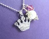 Crown Jewels rhinestone tiara charm and swarovski crystal necklace CLEAR1