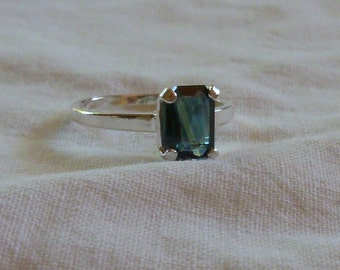 8MM x 6MM emerald cut 1.37 ct blue sapphire sterling silver ring size 5.5