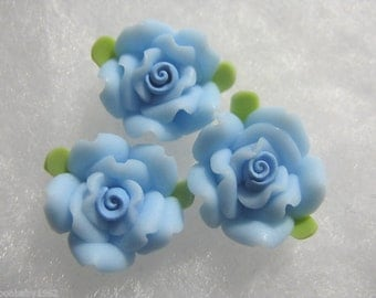 12 Blue Roses    15mm Polymer Clay Fimo Flower beads