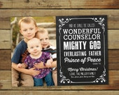 Bible Verse Christmas card, photo card with Bible verse, chalkboard style holiday card, Isaiah 9:6, typography christmas card