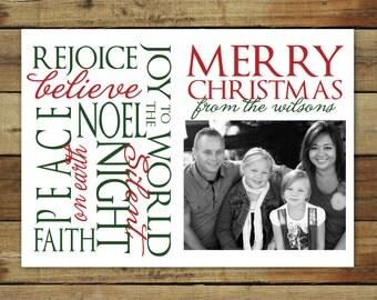 Christmas photo card, custom photo holiday card, printable Christmas card, word art holiday card, printed and printable cards