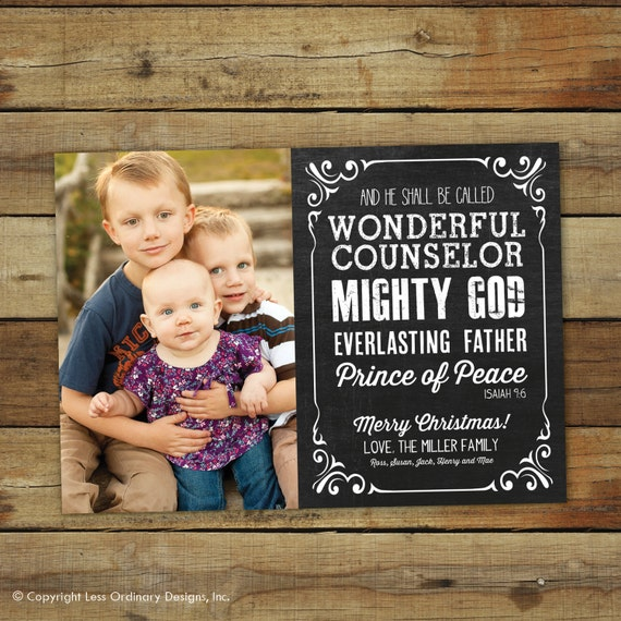 Chalkboard Christmas card, photo card with Bible verse, Isaiah 9:6