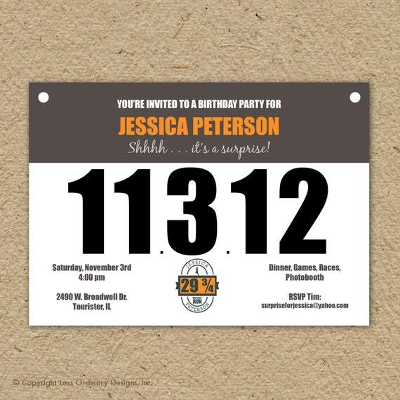 Runner S Bib Birthday Party Invitation Marathon Theme