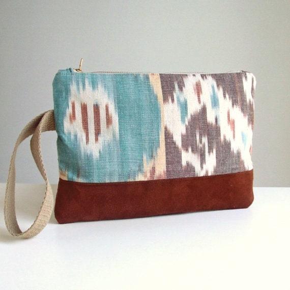 IKAT Wristlet - Clutch Bag - Handwoven Ikat and Faux Suede - Vegan