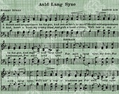 Digital Download Antique Music, Auld Lang Syne Scottish Song by Robert Burns, New Years Eve song, Vintage graphic, digi stamp, digis