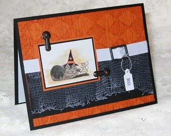 Halloween card, kitty cat in a wizard hat (or witch hat) and mouse, Purrfect for giving at Halloween, Orange and Black, hand colored