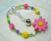 Toddler Infant Baby Beaded Flower Bracelet --