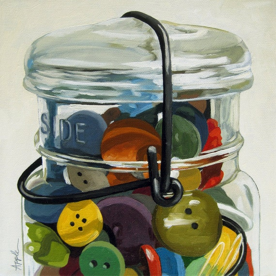 Antique Jar of Buttons realistic still life print from my original oil painting