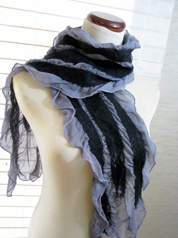 Gray Scarf, Nuno Felted Silk Scarf, Women, Ladies Scarves, Long, Felting, Black and Gray Silk and Merino Wool 1128