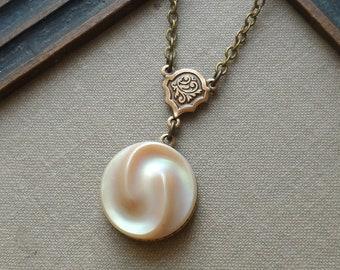Vintage German Glass Button Necklace, Vanilla Twist